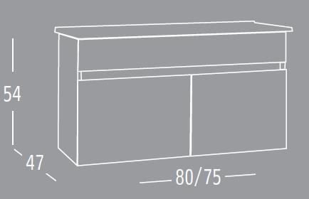 ארון רויאל 75 אפוקסי בגוון לבן או שמנת מבריק במחיר מיוחד =חדש=